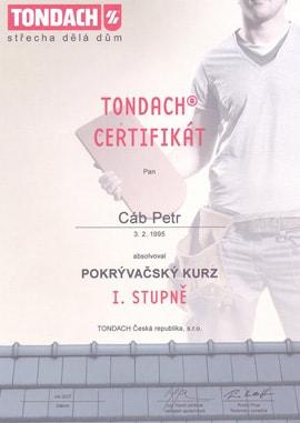 Tondach certifikát